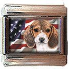 BEAGLE AND AM FLAG ITALIAN CHARM