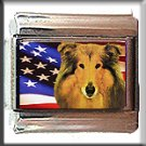 COLLIE AND AM FLAG ITALIAN CHARM