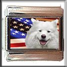 SAMOYED AND AM FLAG ITALIAN CHARM