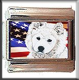 SAMOYED #2 AND AM FLAG ITALIAN CHARM