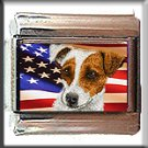 JACK RUSSELL TERRIER AND AM FLAG ITALIAN CHARM