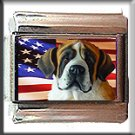 SAINT BERNARD AND AM FLAG ITLAIAN CHARM