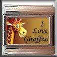 I LOVE GIRAFFES ITALIAN CHARM CHARMS