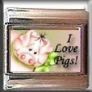 I LOVE PIGS ITALIAN CHARM CHARMS