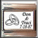 CUSTOM WEDDING NAMES DATE SILVER RINGS ITALIAN CHARM