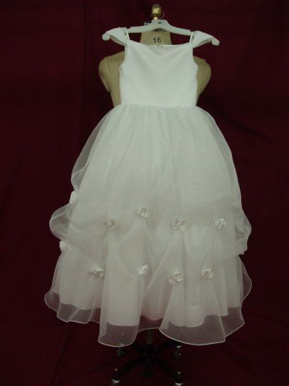 satin lace up new white flower girl
