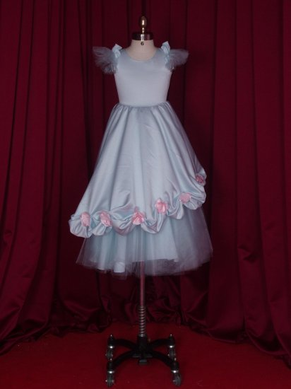 satin lace with rose on  flower girl