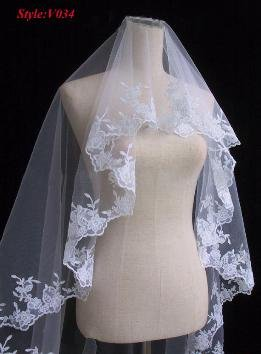 White Bridal lace Embroidery veil