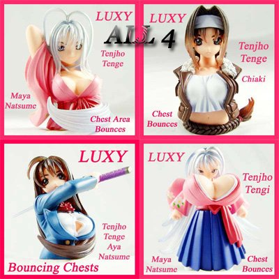 TENJHO TENJO TENGE Set of 4 Bouncing Breast Figure Luxy Anime Collectibles tt3
