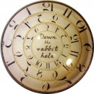 """1 & 3/8"""" Glass Dome Button - AC 24 Down the Rabbit Hole Clock"""