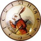 """1"""" Glass Dome Button - AC 7 White Rabbit Clock"""