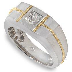 Peter Lam Men's .42ctw Diamond Quad Ring in 18k  size 12
