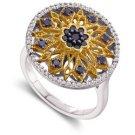 Arco Baleno 1/2ctw TT Black/White Medallion Ring 14-k size 6.50