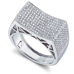 Freeze 1 1/4ctw White Gold Concave Pave Ring  14-k size 8