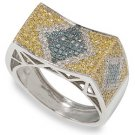 1 1/4 ctw Men's Blue and Diamond 14K Gold Ring  size 12
