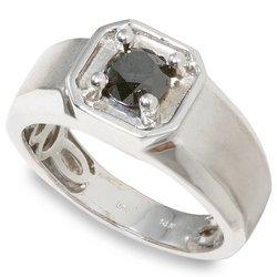 Arco Baleno Men's 1ctw Round Black Diamond Ring  14-k size 9