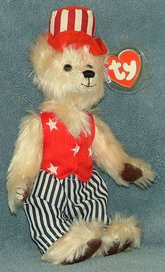 Ty Beanie Baby Uncle Sam Attic Treasures Bear 2000 Retired