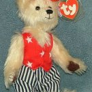 TY Beanie Baby Uncle Sam Attic Treasures Bear 2000 Retired Free Shipping