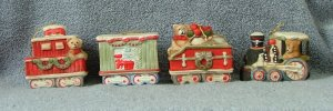 Midwest Bisque Train Car Christmas Snow Set of 4
