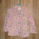 Christopher and Banks pink and purple floral stretch denim jacket sz M