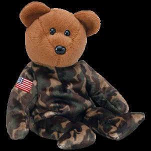 Hero USA the USO bear (flag on arm),  Beanie Baby - Retired