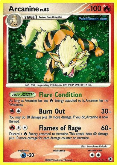 Holo Arcanine Rising Rivals 1/111
