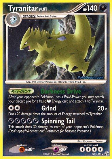 Reverse Holo Tyranitar Pokemon Stormfront 30/100