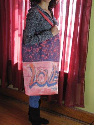 Graffiti Recycled Canvas and Denim Handmade Handbag