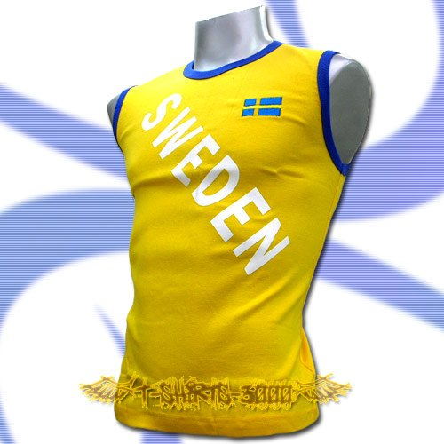SWEDEN YELLOW SLEEVELESS FOOTBALL COOL T-SHIRT SOCCER Size M / L21