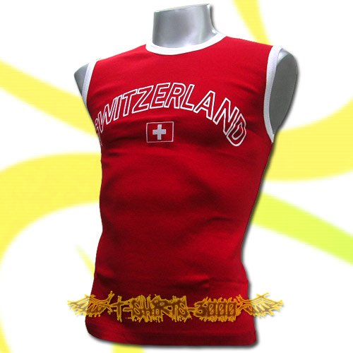 SWITZERLAND RED FOOTBALL SLEEVELESS T-SHIRT SOCCER Size M / L31