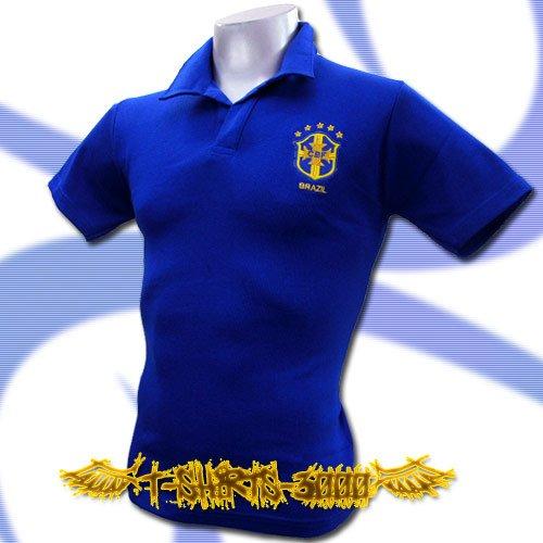 BRAZIL GOLD BLUE #10 FOOTBALL POLO T-SHIRT SOCCER Size M / i42