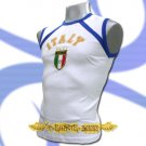 ITALY WHITE ITALIA FOOTBALL SLEEVELESS T-SHIRT SOCCER Size M / J63