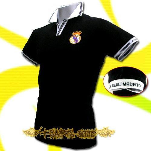 REAL MADRID BLACK FOOTBALL POLO T-SHIRT SOCCER Size M / K44