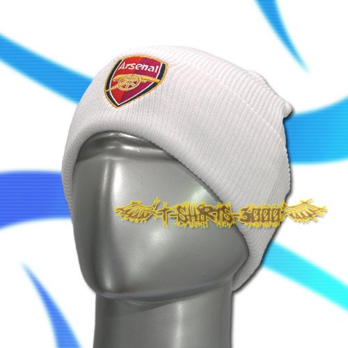 ARSENAL WHITE SOCCER BEANIE HAT SKULL CAP FOOTBALL / C05