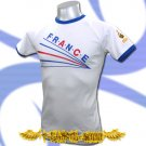 FRANCE WHITE TOP FOOTBALL T-SHIRT SOCCER TEE Size M / E07