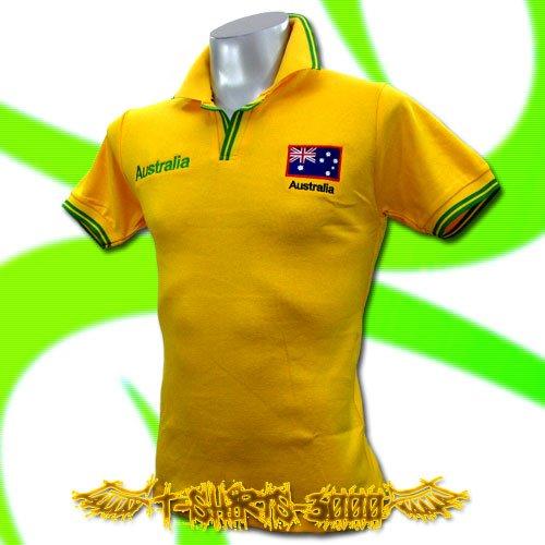 AUSTRALIA YELLOW FOOTBALL POLO T-SHIRT SOCCER Size M / E51