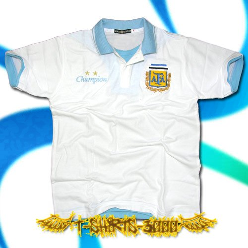ARGENTINA WHITE SOCCER POLO T-SHIRT FOOTBALL Size M / F65
