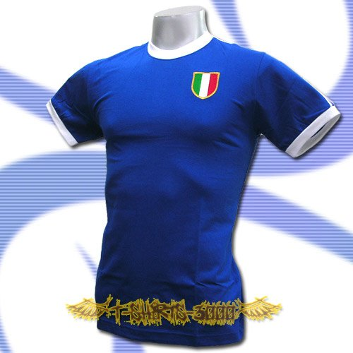 ITALY BLUE ITALIA FOOTBALL RETRO T-SHIRT SOCCER Size M / K05
