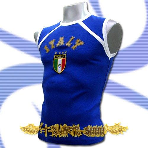 ITALY BLUE ITALIA FOOTBALL SLEEVELESS T-SHIRT SOCCER Size M / J62