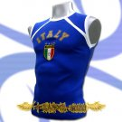 ITALY BLUE ITALIA FOOTBALL SLEEVELESS T-SHIRT SOCCER Size M / J62