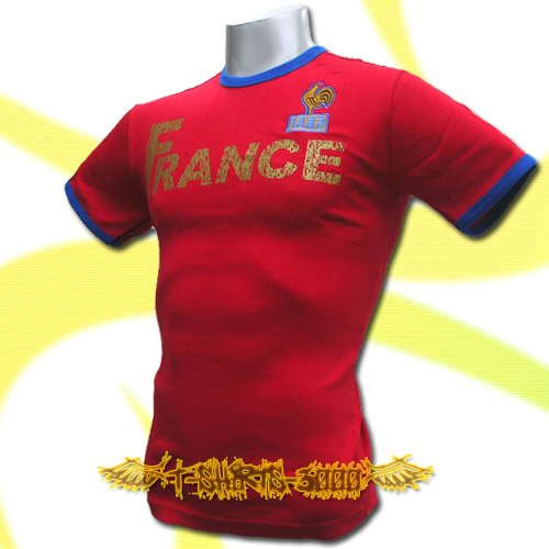 FRANCE RED FOOTBALL  ATHLETIC TEE T-SHIRT SOCCER Size M / K57
