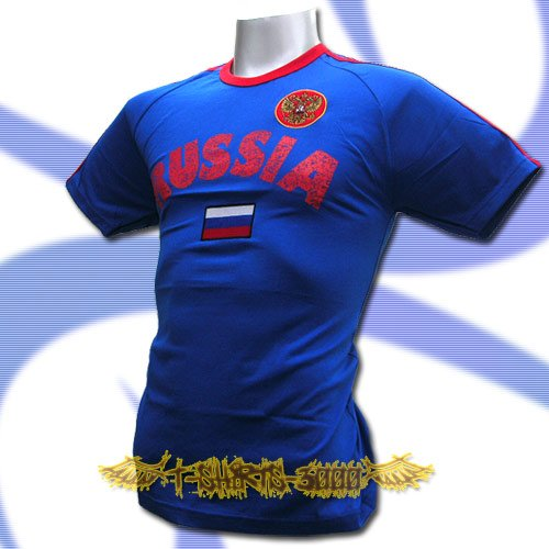 RUSSIA BLUE ATHLETIC FOOTBALL T-SHIRT SOCCER Size L / L84