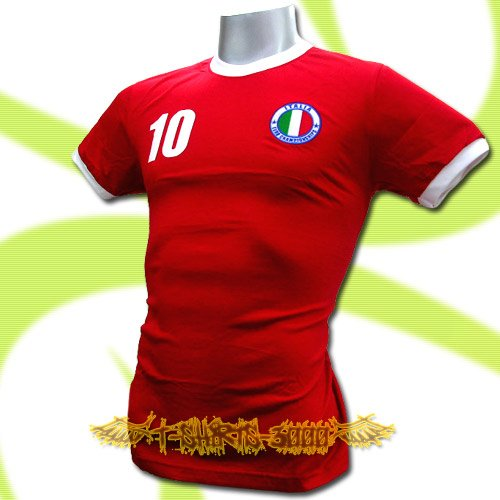 ITALY RED ITALIA FOOTBALL COOL T-SHIRT SOCCER Size L / L87