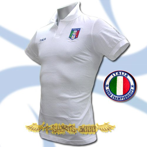 ITALY WHITE ITALIA COOL POLO T-SHIRT SOCCER Size M / M42
