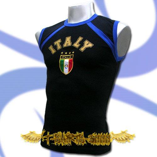 ITALY DARK BLUE ITALIA SLEEVELESS T-SHIRT SOCCER Size M / J64