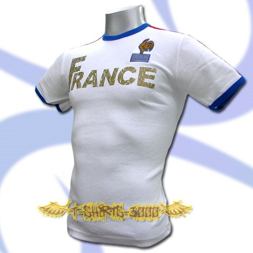 FRANCE WHITE FOOTBALL ATHLETIC TEE T SHIRT SOCCER Size M / K58