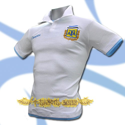 ARGENTINA WHITE FOOTBALL POLO COOL T SHIRT SOCCER Size M / K77