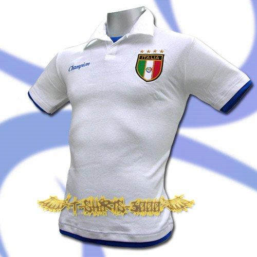 ITALY WHITE ITALIA FOOTBALL COOL POLO SHIRT SOCCER Size M / K80