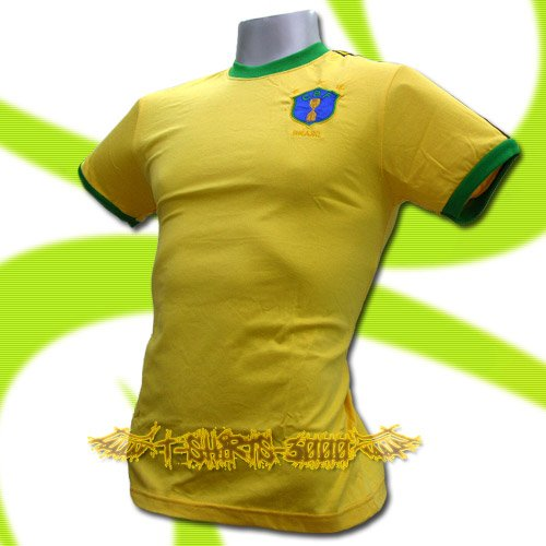 BRAZIL YELLOW BRASIL FOOTBALL COOL T SHIRT SOCCER Size M / K90
