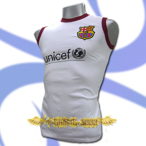 BARCELONA WHITE SLEEVELESS FOOTBALL T SHIRT SOCCER Size M / L36